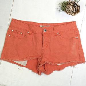 Forever 21 | cutoff coral denim shorts | jean